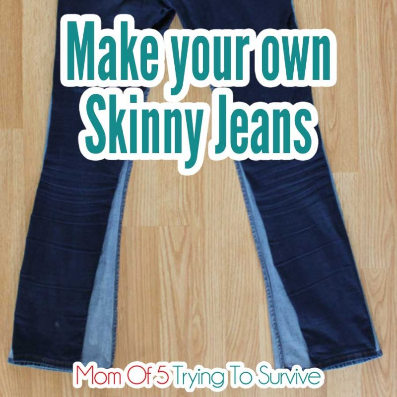 a pair of skinny jeans on top of regular jeans so the regular jeans can be turned into skinny jeans
