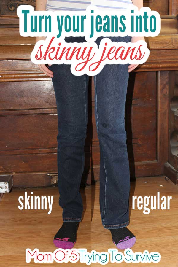 side by side view of regular jeans changed into skinny jeans