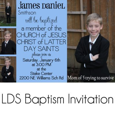 LDS baptism invitation boy