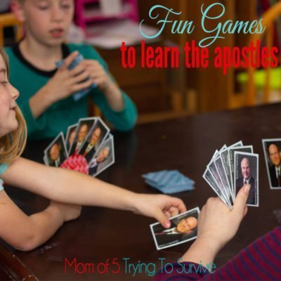 playing go fish with apostle game cards as a family