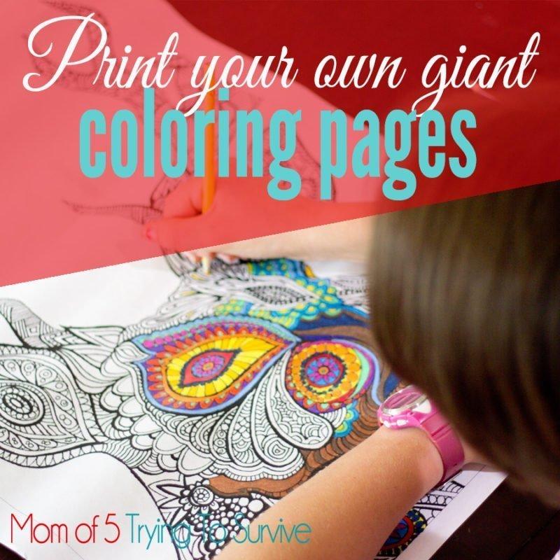 girl coloring a deer mandala giant coloring page