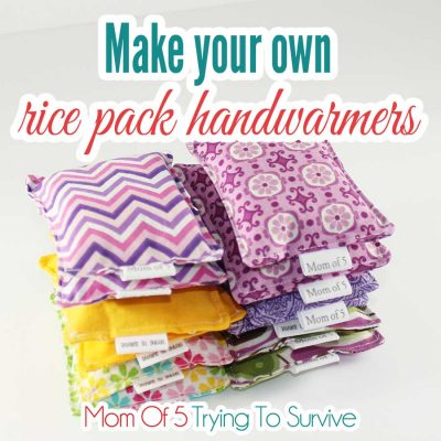 stack of handmade rice pack handwarmers