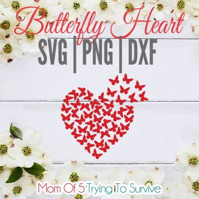 Free butterfly heart SVG File