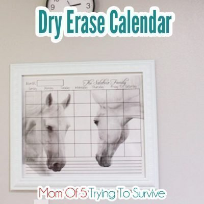 Calendar printed on a horse background placed inside a picture frame to create a dry erase calendar