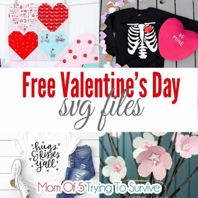 collage of Valentine's Day projects made with SVG files
