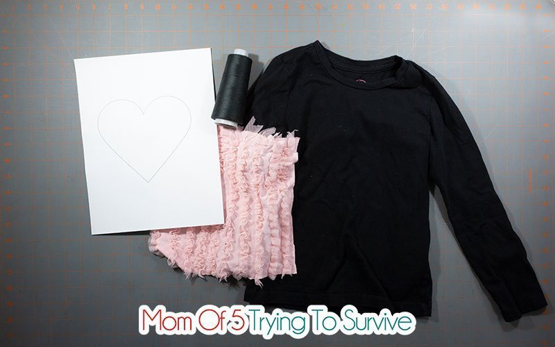 supplies needed for a reverse applique heart shirt