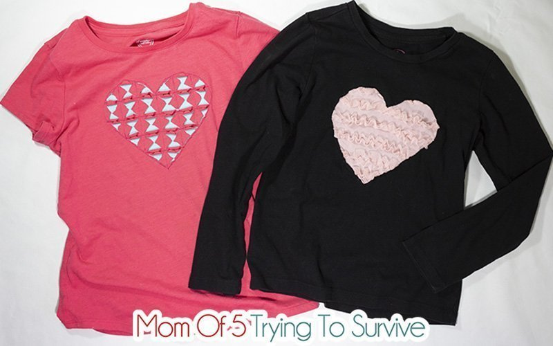 two finished reverse applique heart shirts