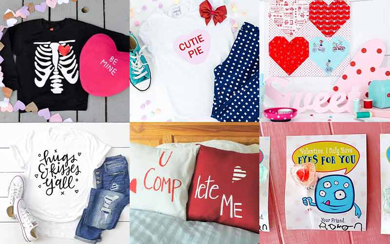 collage of Valentine's Day projects made with Valentine's day svg files