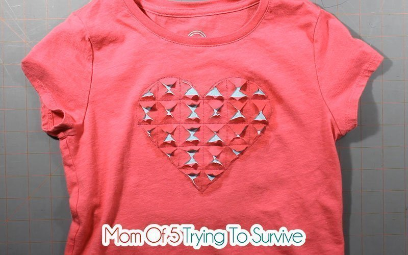 finished clipped heart reverse applique shirt