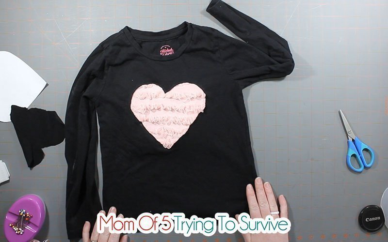 finished reverse applique heart shirt