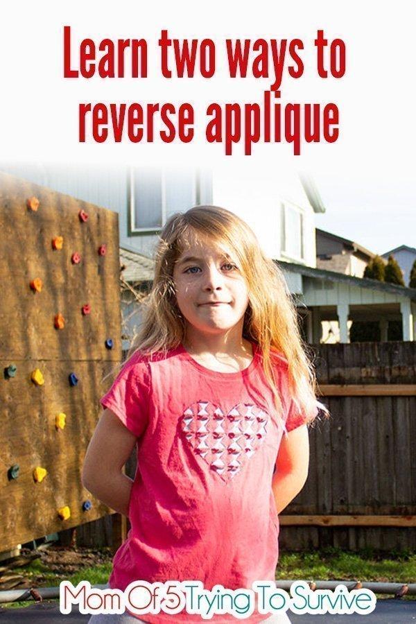 girl wearing reverse applique heart shirt