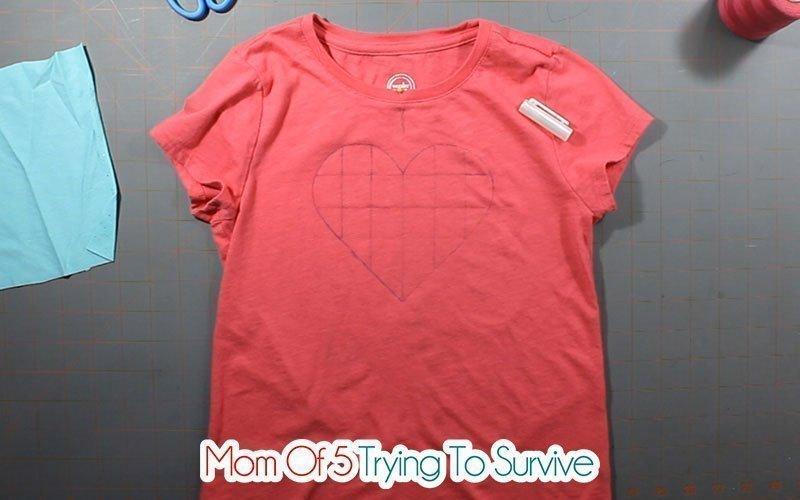 shirt prepared for reverse applique