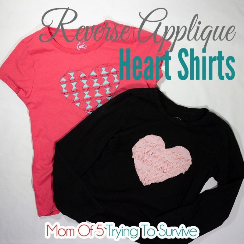 two examples of a reverse applique heart design on tshirts