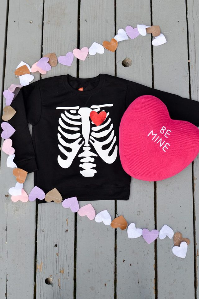 skeleton with heart shirt made with htv vinyl