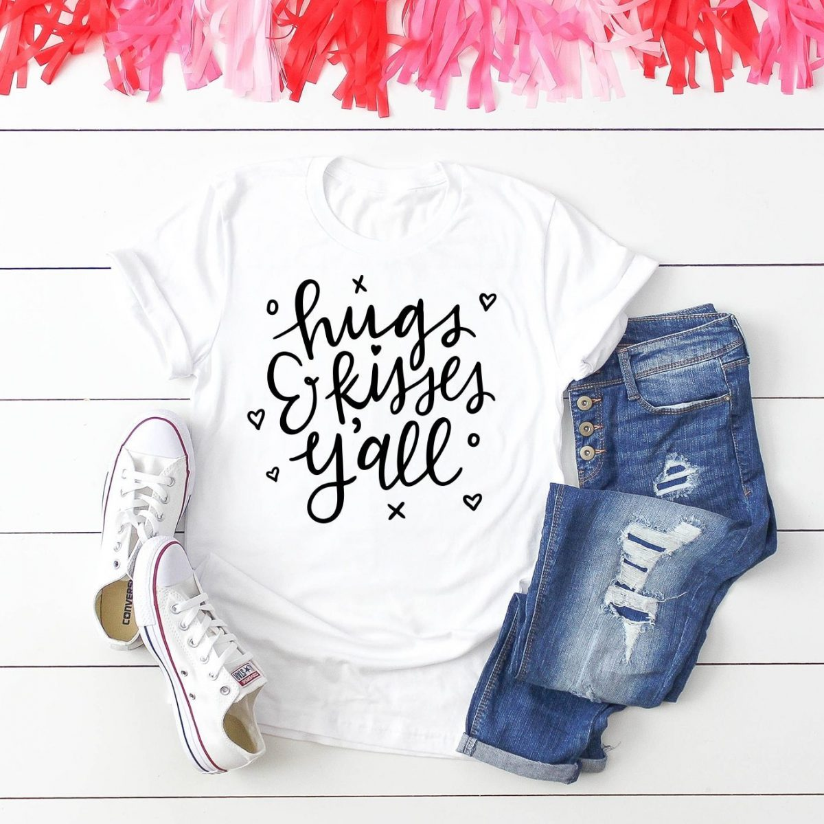 """hugs & kisses y'all"" svg file for shirts or tote bag"