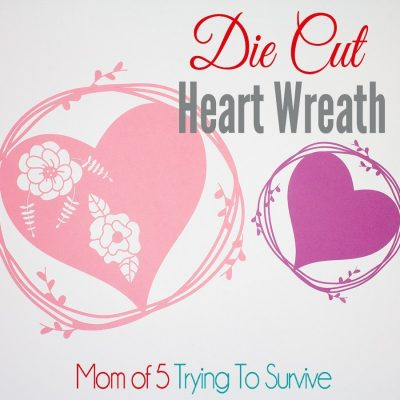 Pink and purple die cut heart wreaths