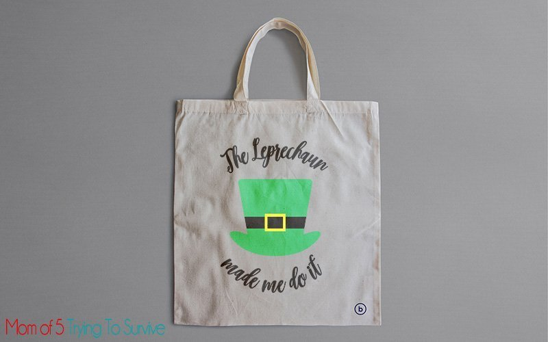 the leprechaun made me do it svg on a tote bag