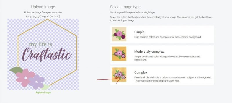 select the complex image type