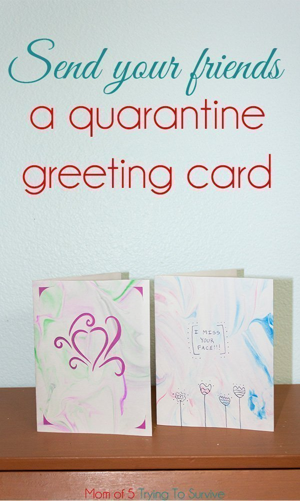 greeting cards made with a marble effect with shaving cream