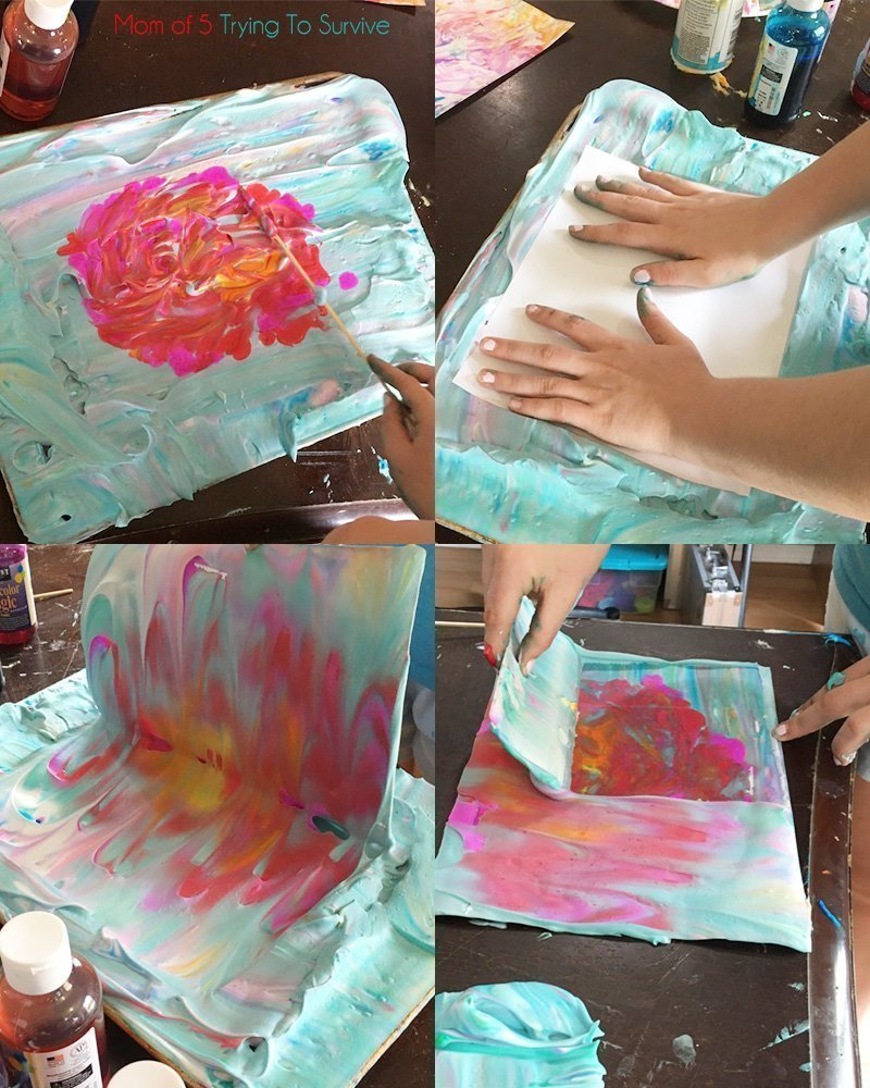 step by step images to make marble colors on cardstock with shaving cream