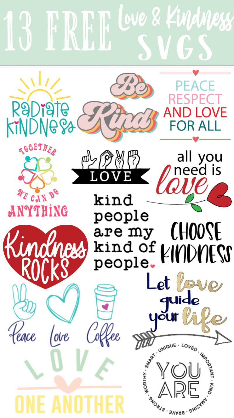 collage of peace and love svgs