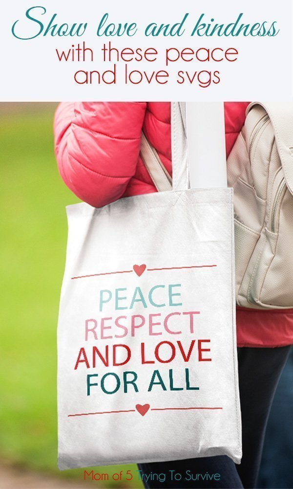 peace and love svg on tote bag