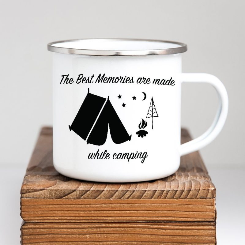 camping memories vinyl decal on mug