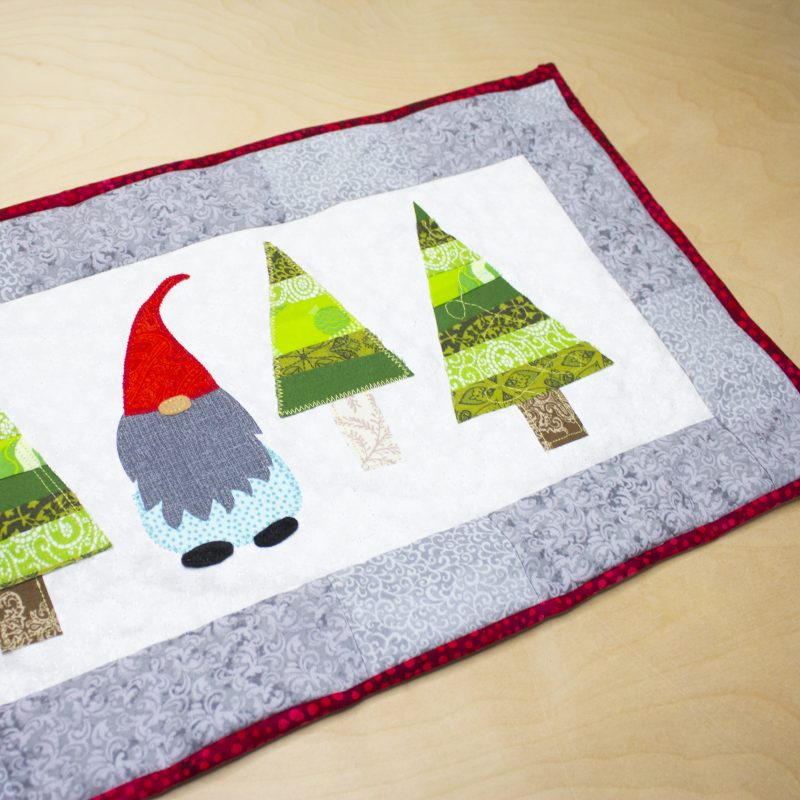 Christmas Table Runner with gnome and trees